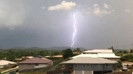 Lightning strikes over Gympie on Sunday evening.