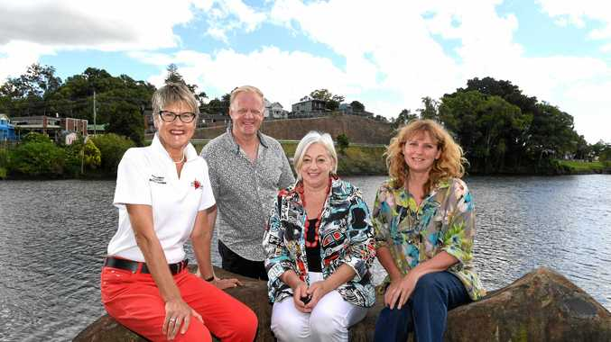 Ilze Jaunberzins, Pastor Rob Stuttle, Jenny Kidd and Tweed mayor Katie Milne are pushing for a commemorative event to remember the anniversary of the March 2017 floods.