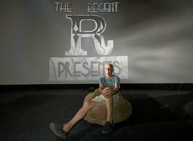 NEW LOOK: Ken Rippin from the Regent Cinema in Murwillumbah pictured in front of the new state-of-the-art cinema screen.