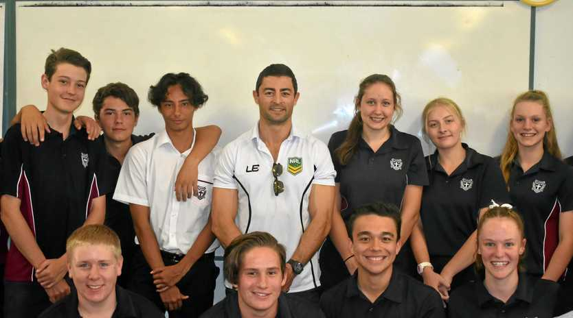 LASTING LEGACY: Sydney Roosters and New South Wales Origin legend Anthony Minichiello during hs visit St John's School.