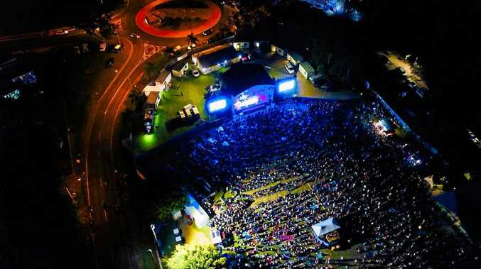 Aerial shot of By The C on Saturday night at Seafront Oval.
