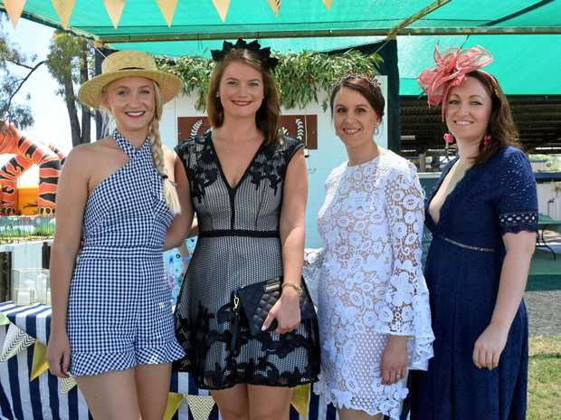 RACE DAY: Caprice Althaus, Gemma Kerwick, Liz Chambers and Emily Beutel at the Miles Races.