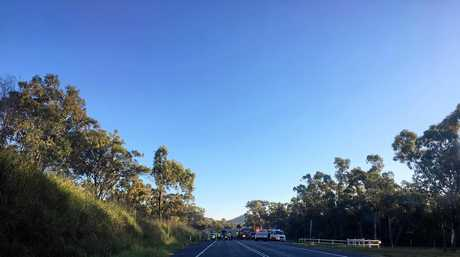 A motorbike and vehicle accident blocks the Yeppoon and Rockhampton roads intersection.