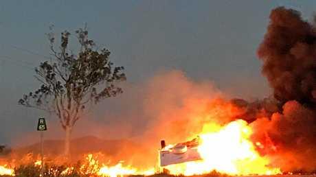 Ben Rowe shares photos of a single-vehicle car and caravan fire on the Bruce Hwy, near Marlborough on Sunday evening.