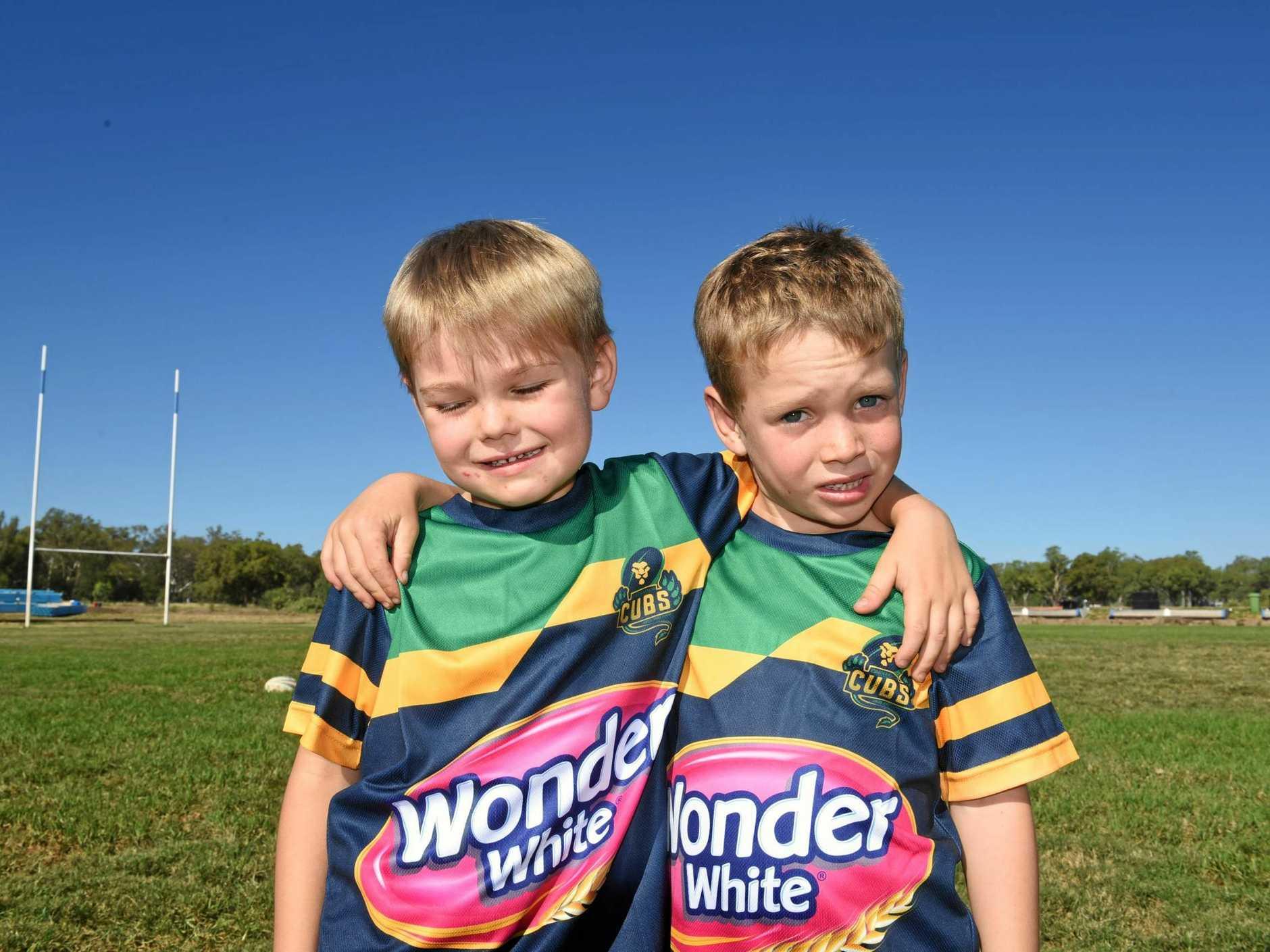 Nash Hilton and Huxley Lucas in their new Carnarvon Cubs uniforms.