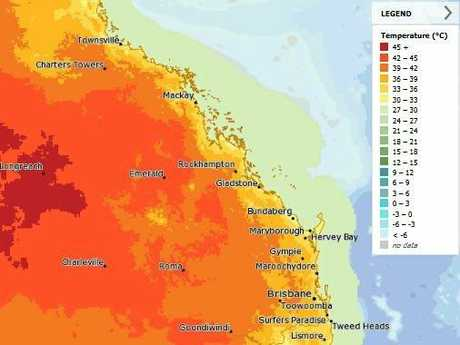 A heat map showing the current temperatures across Queensland.