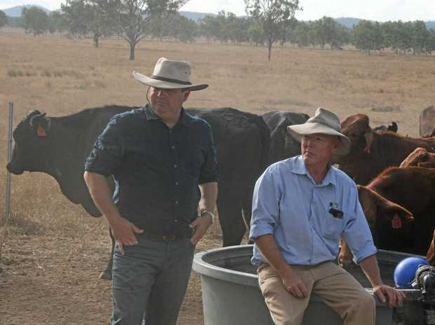 Farmers for Climate Action Queensland Coordinator Michael Kane and Rockhampton Beef Producer Mick Alexander oppose a rail line in the Galilee Basin.