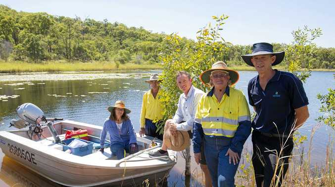 CQUniversity Masters student Lorna Wells, Livingstone Shire Council Officer Glenn McIntyre, Councillor Adam Belot, CQUniversity Associate Professor Larelle Fabbro and Water Quality Officer Michael Dalton pictured at Kelly's Dam.