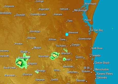 Satellite image taken at 2.30pm, Monday, February 12 showing a storm threat to Gympie.
