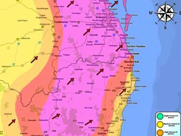 Medium-high chance of storms over Northern Rivers this evening. Source: North Coast Storm Chasers