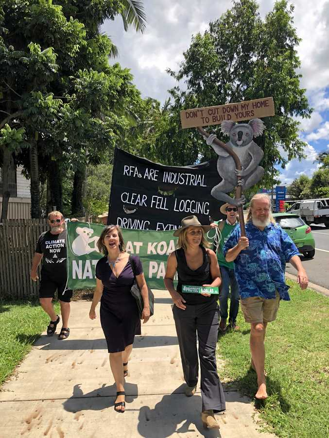 SAVE THE KOLAS: NSW Greens MP Dawn Walker marches alongside community members through Lismore calling for the RFAs to be scrapped.