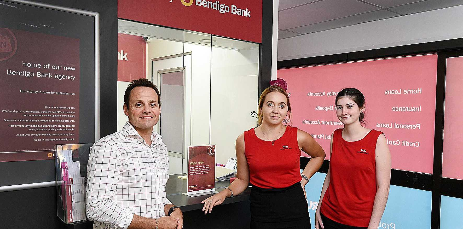 NEW AGENCY: Bendigo Bank has opened inside Suthers George in Maryborough. Pictured are Travis George, Natasha Donnelly and Adeline Russell.
