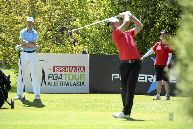 TOP SHOT: Toowoomba professional Ian Esson hits off the 10th tee on his opening hole in last year's Coca-Cola Queensland PGA Championship at City Golf Club. Esson booked his spot in the 2018 championships through Monday's pre-qualifying event.