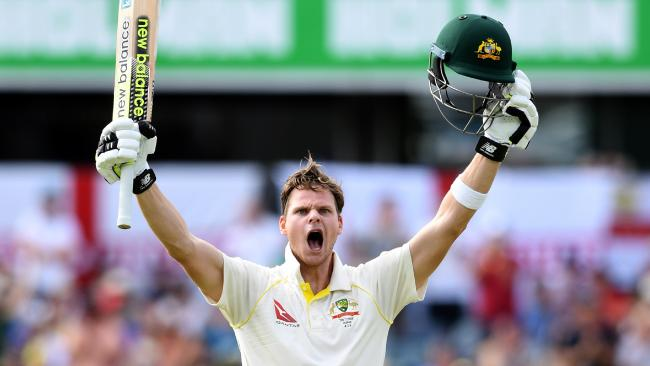 Steve Smith celebrates his double century against England in Perth.