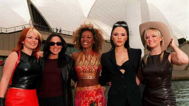 (L-R) Ginger, Sporty, Scary, Posh and Baby Spice at Sydney Opera House during their 1997 promotional visit.