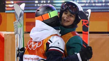 Jakara Anthony celebrates her fourth place.