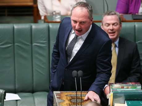 Deputy PM Barnaby Joyce in Question Time on Monday.  Picture Kym Smith