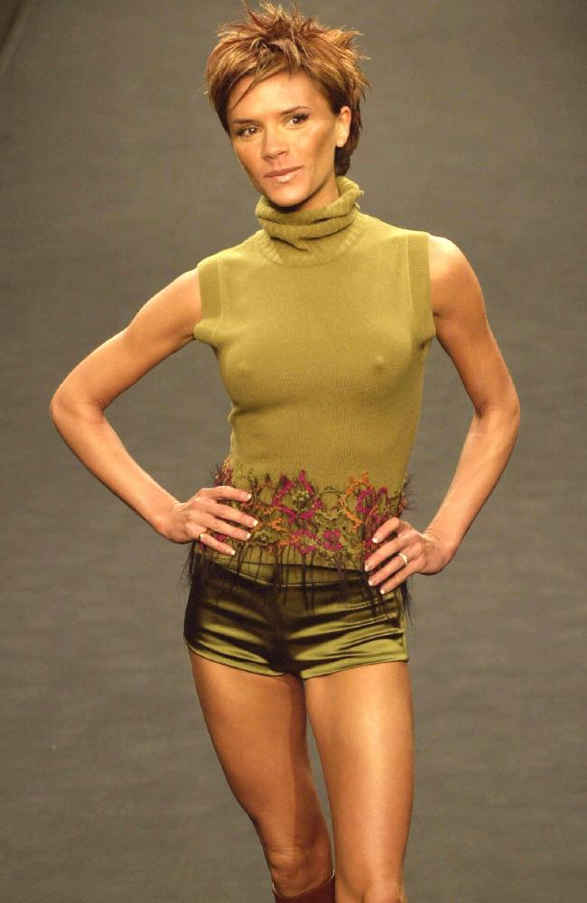 "The ""skeletal"" days. Victoria makes her debut for designer Maria Grachvogel at London Fashion Week in 2000."