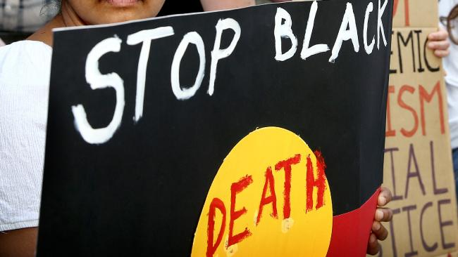 Protest at Parliament - Aboriginal deaths in custody. Picture: Mike Burton