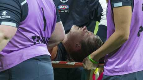 Carlton captain Bri Davey was stretchered from the field on Friday night.
