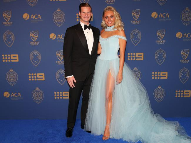 Steve Smith and his partner Danielle Willis on the Allan Border Medal blue carpet.