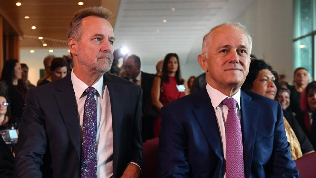 Minister for Indigenous Affairs Nigel Scullion and Prime Minister Malcolm Turnbull at the Close the Gap parliamentary breakfast in Canberra last Thursday. Picture: Mick Tsikas / AAP