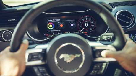 The digital wide-screen dash in the 2018 Ford Mustang. Picture: Supplied.