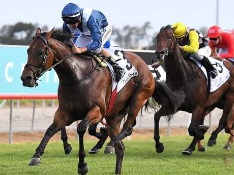Viddora cruises clear to win the Magic Millions Snippets on the Gold Coast. Picture: Albert Perez/AAP