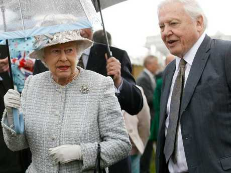 Queen Elizabeth II with Sir David Attenborough. Picture: Suzanne Plunkett — WPA Pool/Getty Images