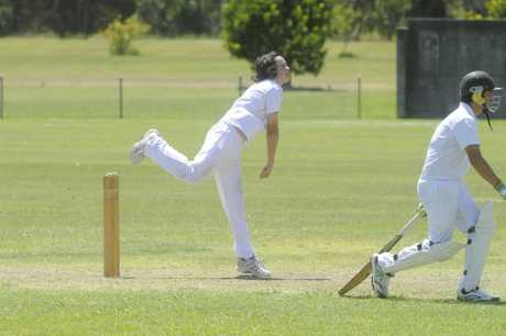 Aiden Ahern bowling for Nambucca Bellingen in the North Coast Cricket Council 2017/18 Inter-District Under-14 grand final between Lower Clarence and Nambucca Bellingen at Barry Watts Oval in Maclean on Sunday, 11th February, 2017.Photo Bill North / Daily Examiner