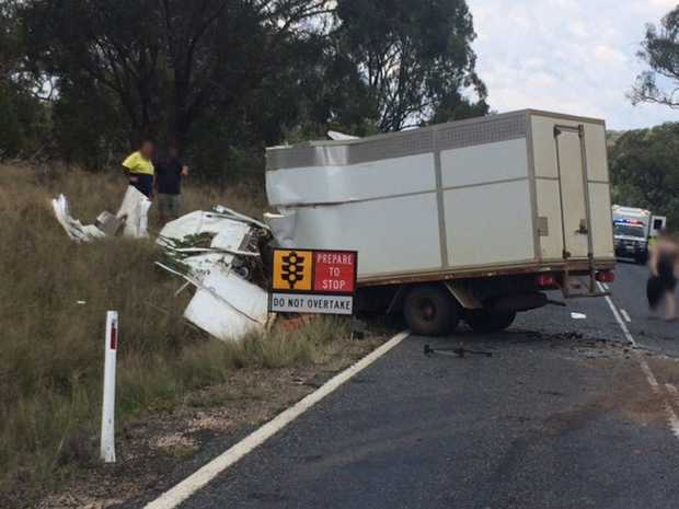 A man was airlifted to hospital after a three-vehicle crash on the New England Highway, south of Toowoomba.