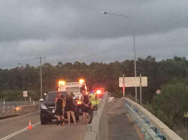 A car crash on the bridge on Hanson Rd, Gladstone.