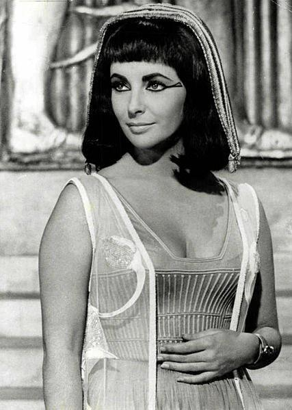 A photo of Elizabeth Taylor from the film Cleopatra, in 1963.