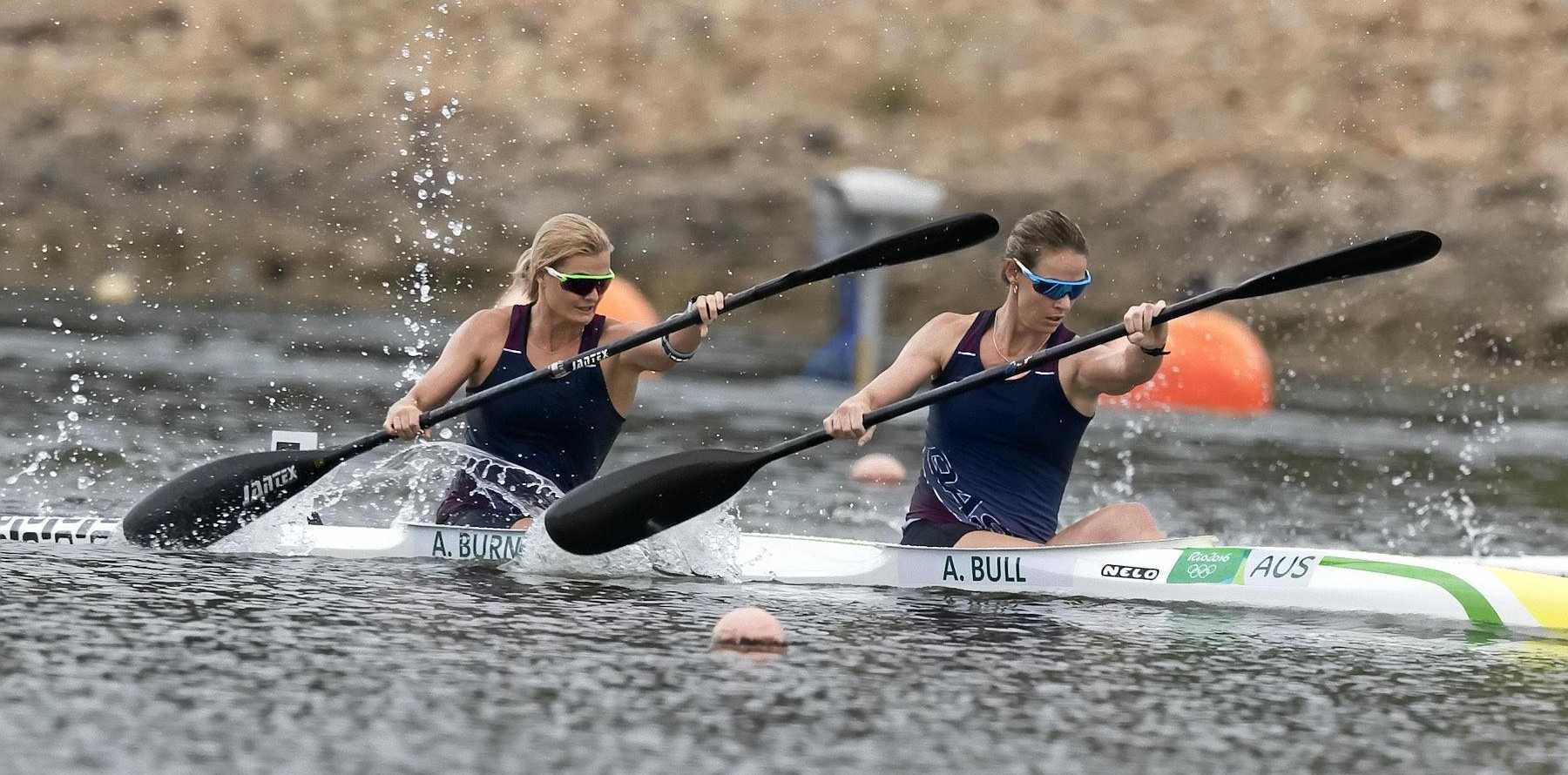POWERFUL: Alyssa Bull and Alyce Burnett paddle hard in Sydney.
