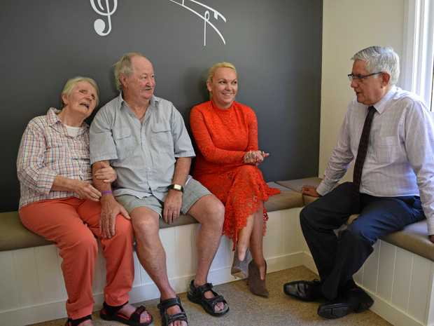 SUPPORT: Carramar NoosaCare resident Lyn Cherry with husband Neil Cherry, group care manager Sandra Gilbert and Minister for Aged Care Ken Wyatt chat about the demand for aged care resources in Noosa.