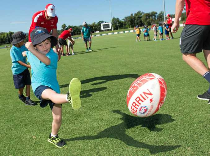 The Sydney Swans will be at the C.ex Coffs International Stadium this afternoon showing youngsters the finer points of AFL before heading to the Jetty Foreshores for a community BBQ.