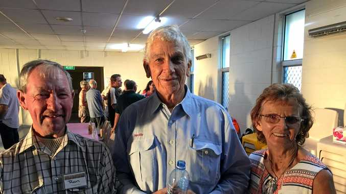 ABOVE: Blaze Aid volunteer Ron, Neville Radecker, and Cheryl Ramke at the Blaze Aid volunteer farewell dinner in Murgon.