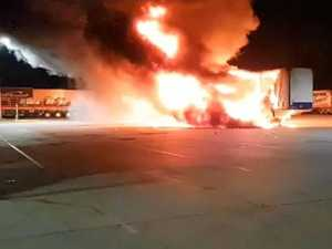Truck ablaze at service station early this morning