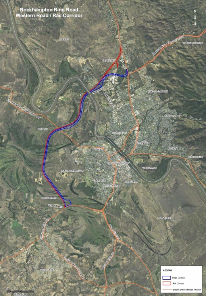 ROAD MAP: The proposed Rockhampton Ring Road and rail corridor.