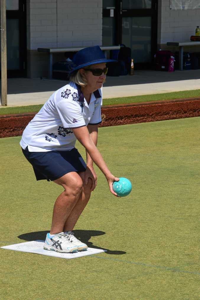 READY TO ROLL: Byron Bay bowler Judy Wallace at the Northern Rivers District Bowling Association women's gala day at Cherry Street Sports Club, Ballina, on Monday.