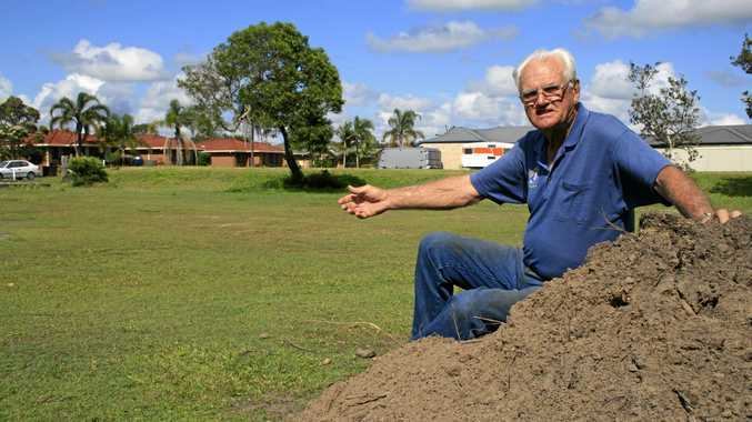 Yamba Community Garden President Ron Jurd on the proposed site of the Garden at Yamba's Wattle Park before it was built