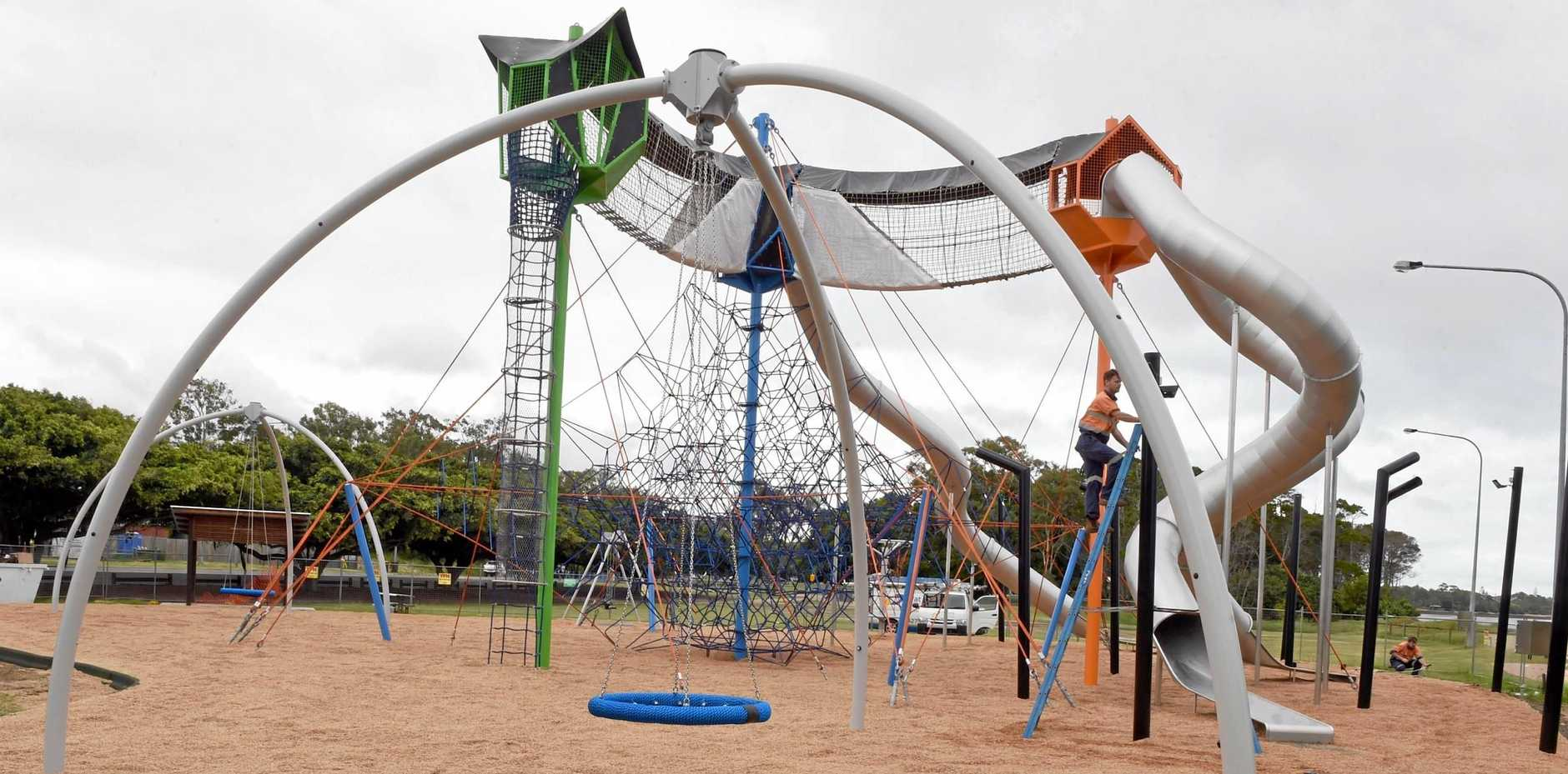 The construction of Hervey Bay's Seafront adventure playground continues.