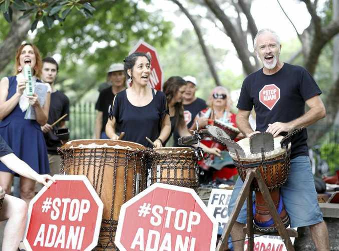 Anti-Adani protesters outside Parliament House in Brisbane.
