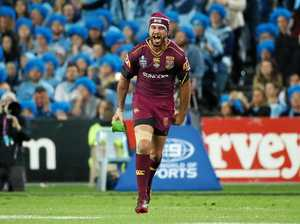 Johnathan Thurston of the Maroons reacts after his kick which won the match during State of Origin Game II between the NSW Blues and Queensland Maroons at ANZ Stadium in Sydney on Wednesday, June 21, 2017.