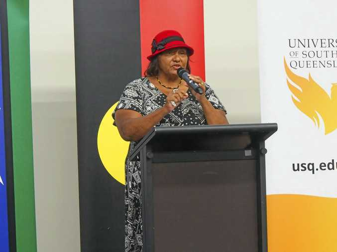 SORRY DAY: Aunty Rhonda Collard-Spratt, member of the Stolen Generations, spoke at a National Apology event at the USQ Springfield campus.