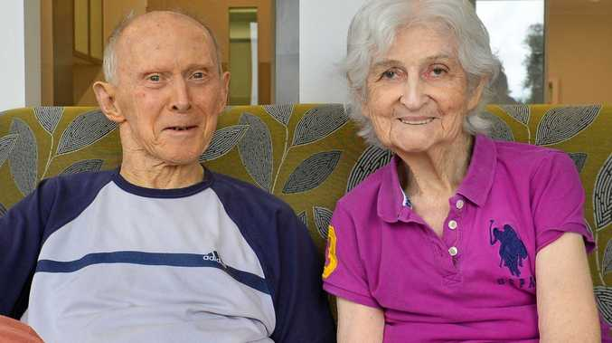 REUNITED: Brian and Patricia Foord in each others' company at the new Villa Maria Aged Care Centre after living separately for years.