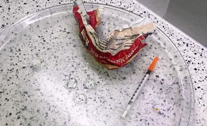 HORROR FIND: The used syringe was found inside the parents room microwave.