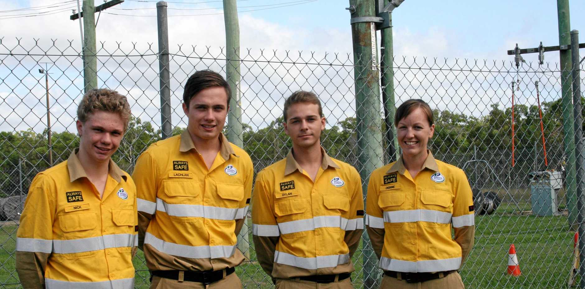 Nick Jackson (Maryborough), Lachlan Peebles (Hervey Bay), Dylan Petersen (Hervey Bay) and Debbie Phillips (Maryborough) are some of the new apprentices that have started with Ergon Energy.