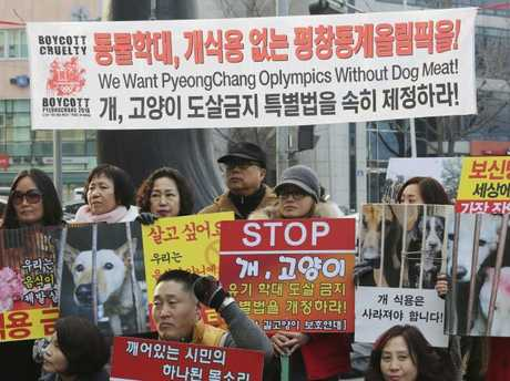 Animal right activists stage a campaign opposing South Korea's culture of eating dog meat in Seoul just before the Olympics.