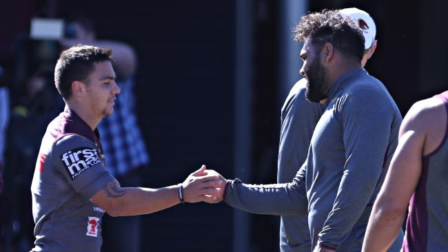 Kodi Nikorima and Sam Thaiday at Broncos training. Picture: Annette Dew